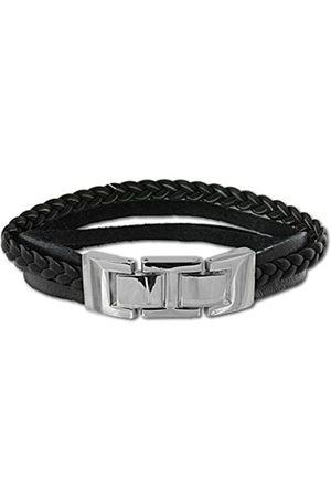 SilberDream Herren Armband Edelstahl Leder 20.0 cm VLAP003S