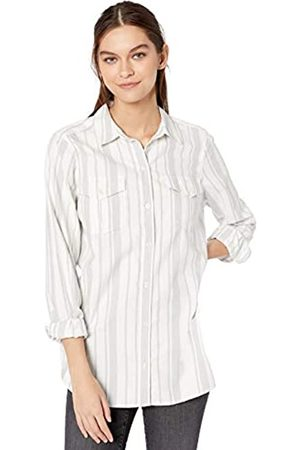 Goodthreads Solid Brushed Twill Long-Sleeve Utility dress-shirts, White/Grey Awning Stripe