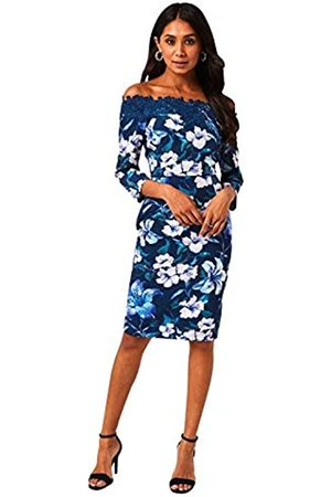Paper Dolls Pasadena Navy Floral-Print Bardot Fitted Dress with an Off-The-Shoulder Neckline and lace-Trim Detail. Mid-Length Sleeves