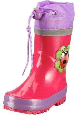 Playshoes Kinder Glã¼ckskã¤fer Gummistiefel aus Naturkautschuk, trendige Unisex Regenstiefel mit Reflektoren, mit Käfer-Motiv
