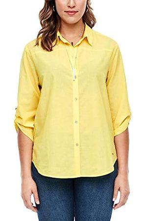 s.Oliver Damen Chambray-Bluse mit Turn up-Ärmeln yellow melange 54