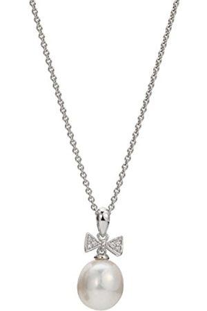 ADRIANA Damen-Kette mit Anhänger Amore 2015 925 Silber rhodiniert Zirkonia Süßwasser-Zuchtperle 45 cm - A57