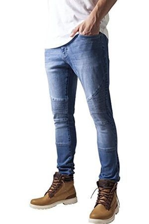 Urban classics TB1436 Herren und Jungen Jeanshose Slim Fit Biker Jeans, Five-Pocket Stretch Biker Hose im Used Look, blue washed