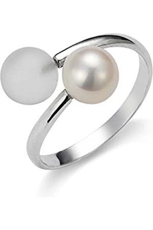 ADRIANA Damen-Ring Gelato 925 Silber rhodiniert Kristall Süßwasser-Zuchtperle Gr. 54 (17.2) größenverstellbar - AGR3-Gr.54