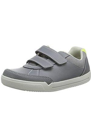 Clarks Jungen Emery Sky K Sneaker, (Grey Leather Grey Leather)