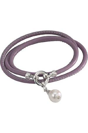 ADRIANA Damen-Set: Halskette + Armband Süßwasser Zuchtperlen 925 Sterling Silber L1-pastellviolett