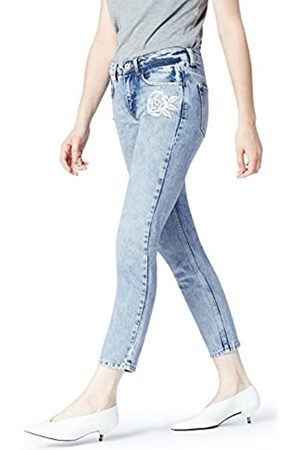 FIND Amazon-Marke: Damen Straight Cut-Jeans mit Stickerei, 28W / 32L