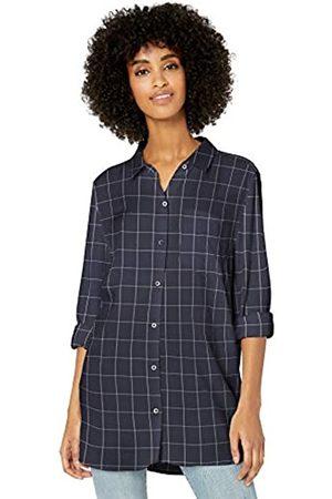 Goodthreads Modal Twill Long-Sleeve Button-Front dress-shirts, Navy/Grey Windowpane