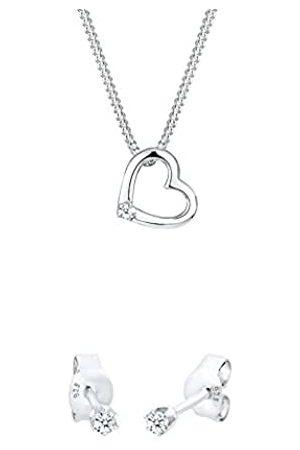 DIAMORE Damen Kette mit Anhänger Herz 925 Sterling Silber Diamant 0,02 ct Länge 45 cm + Damen Ohrstecker 925 Sterling Silber Diamant 0