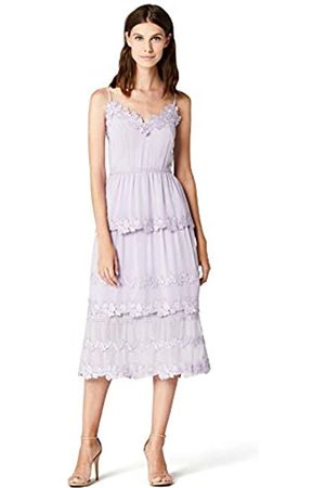 TRUTH & FABLE Damen Midi Chiffon Kleid mit Blumenstickerei