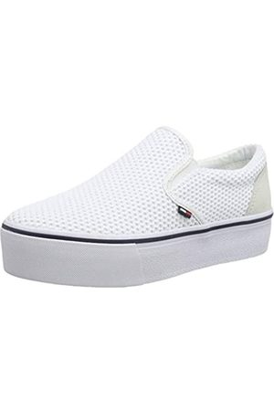 Tommy Hilfiger Damen WMN Slipon Textile City Sneaker, (White/Ice 100)