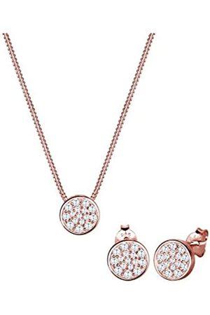 Elli Damen-Schmuckset Halskette + Ohrringe Vergoldet Zirkonia weiß Rundschliff Zirkonia - 0905951016_45 - 45cm Länge