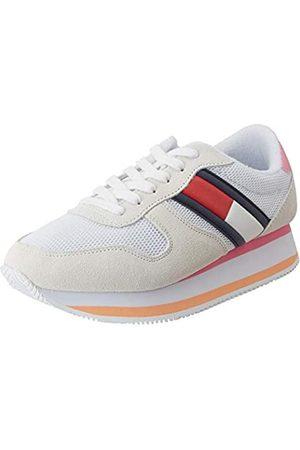 Tommy Hilfiger Damen Flatform Runner Colour Sneaker, (White Ybs)