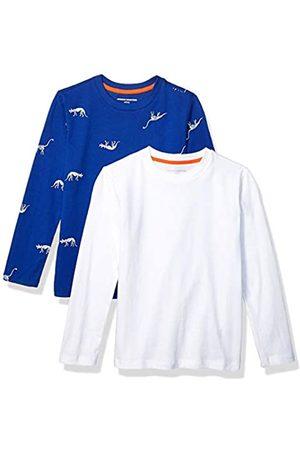 Amazon Boys' 2-Pack Long-Sleeve Tees athletic-shirts, Blue Dino Skeleton/White
