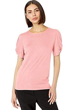 Lark & Ro 1-by-1 Rayon Span Pleated Short Sleeve Top dress-shirts