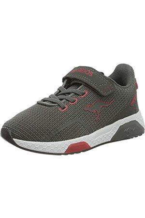 KangaROOS Unisex-Kinder Kadee Lite EV Sneaker, (Steel Grey/Red 2127)