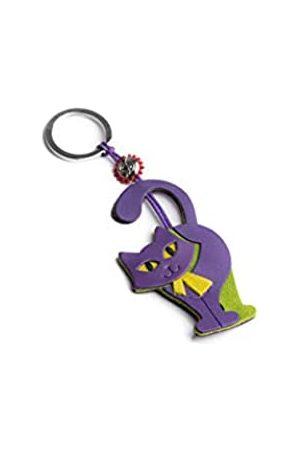 Dallaiti Design Schlüsselanhänger Katze aus Pigmentleder aus Veloursleder und gewachster Draht mit Ring aus Metall Schlüsselring 16 cm - PCA107/16