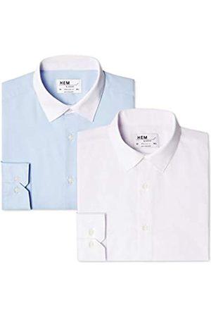 FIND Herren Businesshemd 2 Pack Regular Fit Contrast Collar,2