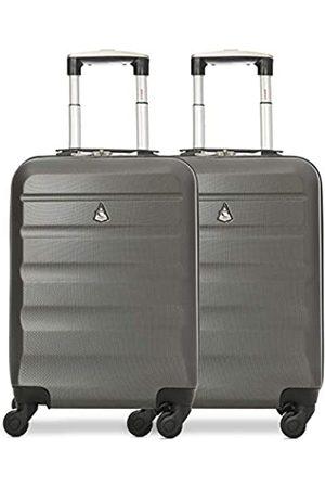 Aerolite 2 Teilig Leichtgewicht ABS Hartschale 4 Rollen Handgepäck Trolley Koffer Bordgepäck Kabinentrolley Reisekoffer Gepäck