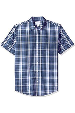 Amazon Herren-Hemd, Kurzarm, normale Passform, kariert, aus Popeline