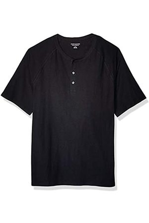 Amazon Herren-Henley-Shirt aus Flammengarn, Regular-Fit, Black