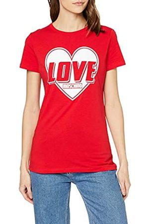 Love Moschino Damen Short Sleeve Jersey Stretch Heart & Turbo Logo Print T-Shirt