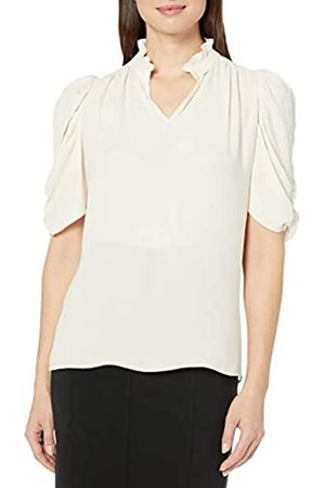 Lark & Ro Half Sleeve Ruffle Neck Woven Blouse Dress-Shirts