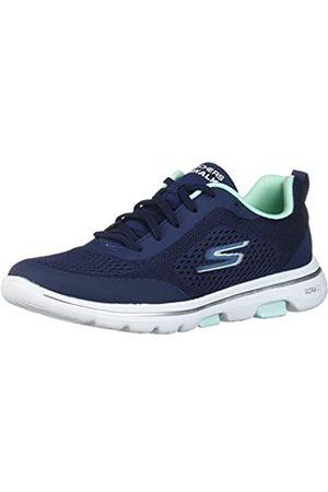 Skechers Damen Go Walk 5 Sneaker, (Navy Textile/Aqua Trim Nvaq)