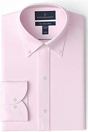 Buttoned Down Slim Fit Button Collar Solid Non-iron Dress Shirt Smoking Hemd, Light Pink)