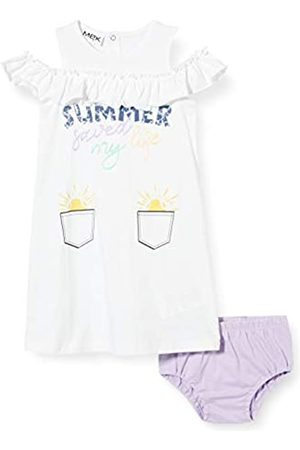 MEK Baby-Mädchen Abito Jersey Motivospalle E Couloutte Kleid, (Optical White 01#Nero/A)