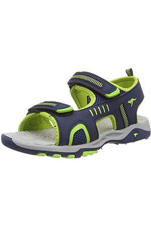 KangaROOS Unisex-Kinder K-Logan Sneaker, (Dk Navy/Lime 4054)