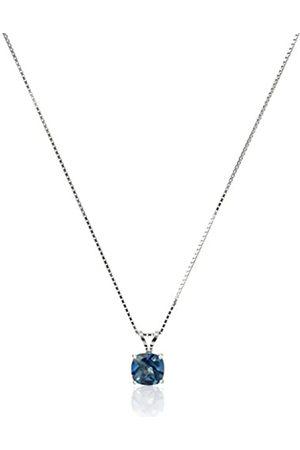 Amazon Collection Halskette mit Anhänger aus Sterlingsilber, kaschierter Schachbrettschliff, echter Edelstein