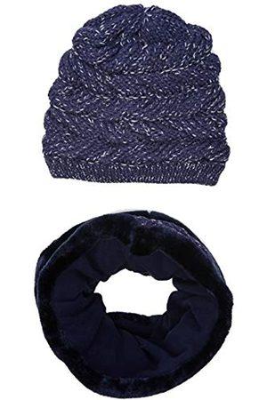 MEK Mädchen Cappello E Scaldacollo Con Eco Pelliccia Mütze, Schal & Handschuh-Set