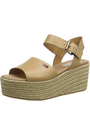 Tommy Hilfiger Damen Natural Flatform Geschlossene Sandalen, (Dusty Bronze Gqe)