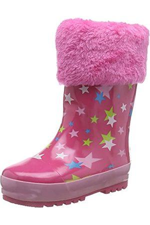 Playshoes Kinder Gummistiefel aus Naturkautschuk, warme Mädchen Regenstiefel mit Innenfutter, mit Sternen-Muster, Pink (original 900)