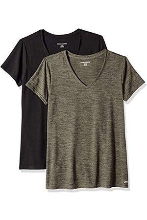 Amazon 2-Pack Tech Stretch Short-Sleeve V-Neck T Athletic-Shirts, Olive Space Dye/Black
