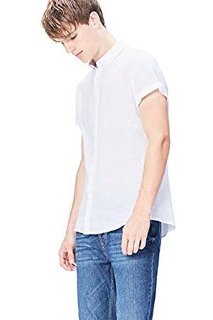 FIND Herren Slim Fit Hemd Short Sleeve Linen Einfarbig