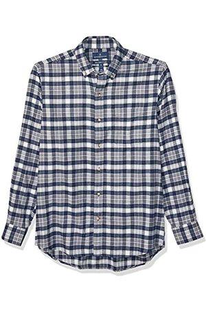 Buttoned Down Classic Fit Supima Cotton Plaid Flannel Sport Shirt Buttondown-Hemd, Navy/Grey