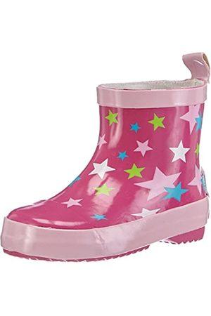 Playshoes Kinder Halbschaft-Gummistiefel aus Naturkautschuk, trendige Unisex Regenstiefel mit Reflektoren, mit Sternen-Muster