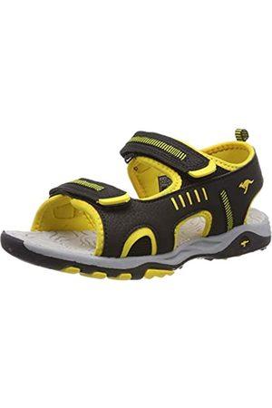 KangaROOS Unisex-Kinder K-Logan Sneaker, (Jet Black/Sun Yellow 5028)