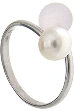 ADRIANA Damen-Ring Gelato 925 Silber rhodiniert Quarz rosa Süßwasser-Zuchtperle Gr. 52 (16.6) größenverstellbar - AGR4-Gr.52