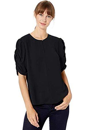 Lark & Ro Amazon-Marke: Damen gewebte Bluse mit Rüschenärmeln, Black