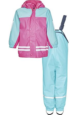 Playshoes Regenanzug-Set mit Fleece gefüttert, Mädchen Matsch-Anzug 2-teilig