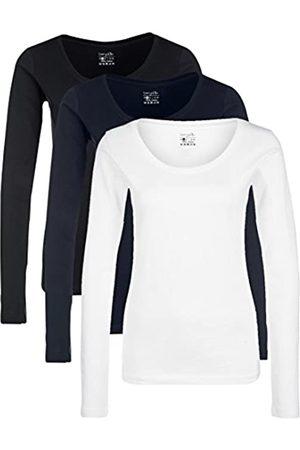 Berydale Damen für Sport & Freizeit, Rundhalsausschnitt Langarmshirt, 3er Pack, Mehrfarbig ( /Weiß/Navy)