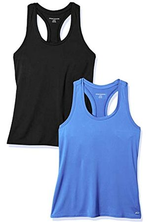 Amazon 2-Pack Tech Stretch Racerback Tank Top Athletic-Shirts, Bright Blue/Black