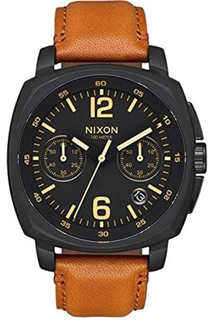 Nixon Unisex Erwachsene Chronograph Quarz Uhr mit Leder Armband A1073-2447-00