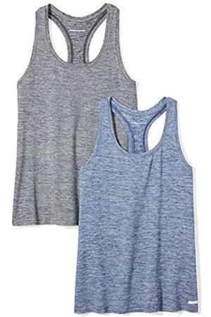 Amazon 2-Pack Tech Stretch Racerback Tank Top Athletic-Shirts, Black Navy Heather