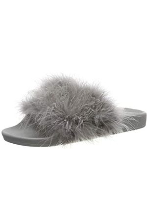 THE WHITE BRAND Damen Feather Peeptoe Sandalen, (Grey Grey)