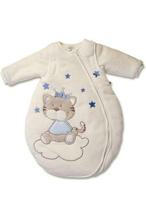 Jacky N Baby Winter Schlafsack Katze, Mit abnehmbaren Ärmeln, Wattiert, Alter: 6-12 Monate, Größe: 74/80, Farbe: Beige/Blau