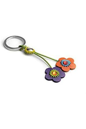 Dallaiti Design Schlüsselanhänger Blume aus Veloursleder Swarovski Kristalle mit Ring aus Metall Schlüsselring 11 cm (Mehrfarbig) - PCA019/16
